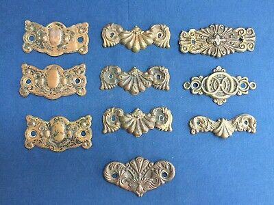 10 Antique Mixed Lot Pressed Stamped Brass Drawer Pull Back Plates Escutcheon
