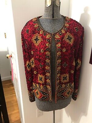 Papell Boutique Evening XL cardigan top jacket red black gold beaded silk