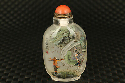 chinese old glass  painting Journey to the West vs Bull Demon King snuff bottle