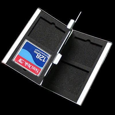 Aluminum CF Compact Memory Card Protecter Storage Box Case hold  New.