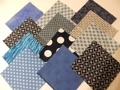 "Shades Of Blue Prints Fabric Quilting Squares Charm Pack 5"" Blocks 100 pcs"