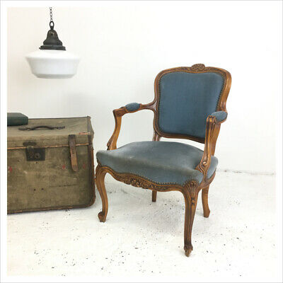 Industrial Vintage Blue French Louis XV Style Fauteuil Chair
