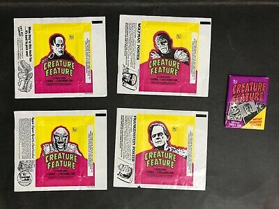 CREATURE FEATURE TOPPS WAX PACK FROM 1970's & 4 WRAPPERS