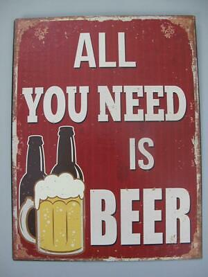 Metal Sign,Advertisement Sign all You Need Is Beer, Pubs Shield 13x9 13/16in