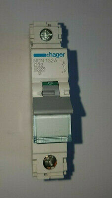 Hager 32 Amp Single Pole/phase MCB Circuit Breaker C32 / 32a Type C Ncn132