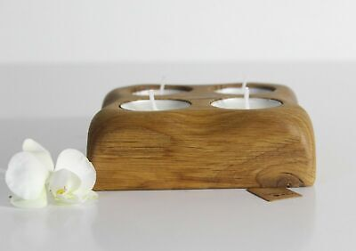 Handmade Folk Art French Country Square Wood Oak Tea Light Candle Holder 5 in