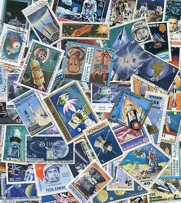 50 Different Space Travel Rockets  on Stamps  Thematics **STOCK PICTURE**