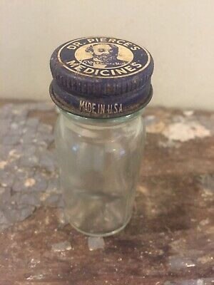 Vintage Dr Pierce's Medicine's bottle clear glass apothecary