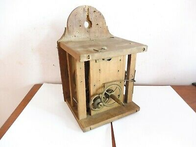 Antique Wooden Cased  Chain Line Cogged Clock  Movement