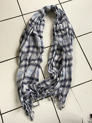 Lot of 2 Scarves Child 8-10 Years Blue Checkered and Degrade Blue