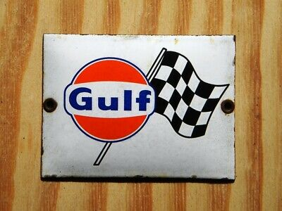 """GULF OLD PORCELAIN SIGN ~4-3/4"""" x 3-1/2"""" CHECKERED FLAG OIL RACING GAS GARAGE"""
