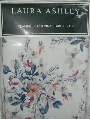 Laura Ashley HILLCREST Wildflowers Floral Vinyl Flannel Back Tablecloth New