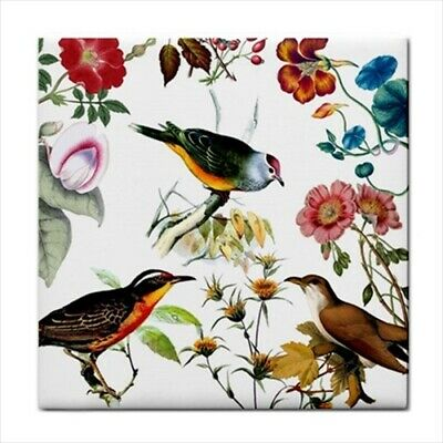 Song Birds Floral Flower Art Ceramic Tile