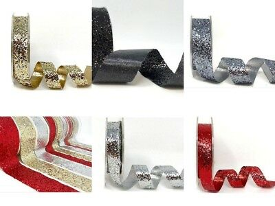 Glitter Spakle Ribbon Widths 15mm 25mm or 38mm Red Silver Gold Black and Pewter