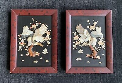 Chinese Wall Panels ~ Birds ~ Mother of Pearl, Shell, Lacquer ~ pair