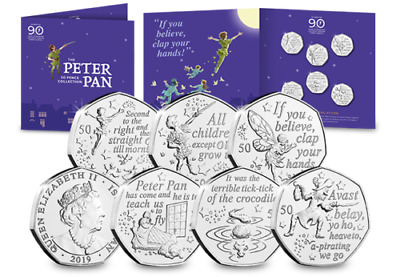 OFFICIAL BU 2019 Peter Pan 50p Coin SEALED FULL SET : BRILLIANT UNCIRCULATED IOM