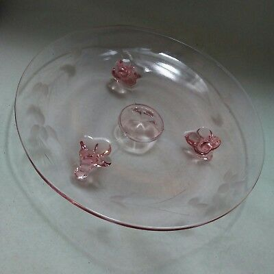 """Footed Mini Cake Stand Plate 7 1/2"""" W 1"""" H Easter Pink Etched Depression Glass"""