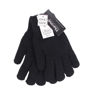 Black knitted Thinsulate Thermal Insulated Knitted Gloves Work Camping Hiking