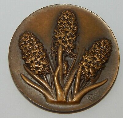 """French / Bronze Medal - Cluster of 3 Hyacinths - Stamped """"GV"""" on front - Uniface"""