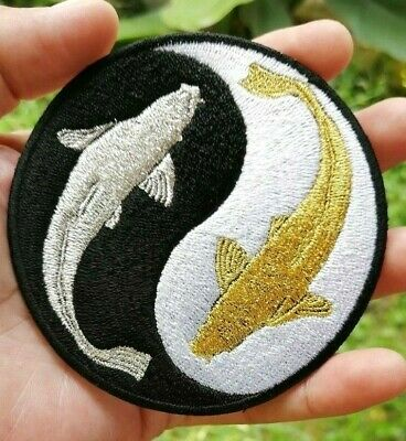 Ying Yang Lucky fish Amulet believe retro Koi fish Embroidered Iron-On Sew patch