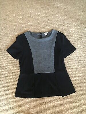 Women's J. Crew Black and Gray Short Sleeve Peplum Top, Size Small Gently Used