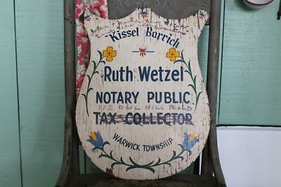 Vintage Pennsylvania Dutch Wooden Sign, Tax Collector Notary Public 2-Sided Sign
