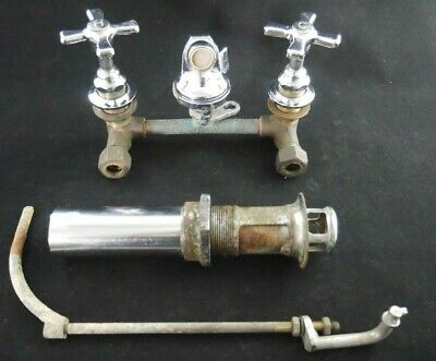 Antique Vintage American Standard Shelfback Faucet Set with Drain 1950's