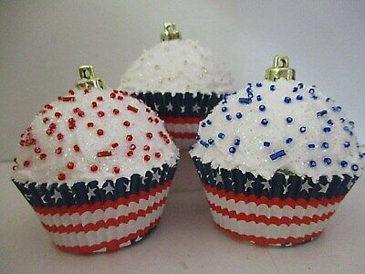 Set of 3 Christmas Candy Cupcake Ornaments w/ beads ~ Patriotic Red white blue