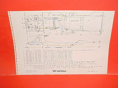 1961 Ford Thunderbird Convertible Falcon Ranchero Futura Frame Dimension Chart