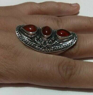 Ancient Antique Victorian Silver Ring Beautiful Agate Stone Excellent vintage
