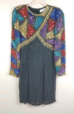 NITELINE DELLA ROUFAGALI womens size 4 VTG beaded sequined long sleeve dress