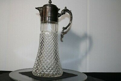 Georgian Style Crystal & Silver Plate Claret Jug Decanter Wine, Liquor ,Whiskey.