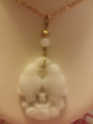 Antique Chinese beautiful white Jade Love Birds, h/c  Pendent w/gold clad chain.