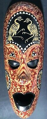 """Handcarved Painted Wooden Indonesian Tribal Mask Decorative Wall Art 13"""" Vintage"""