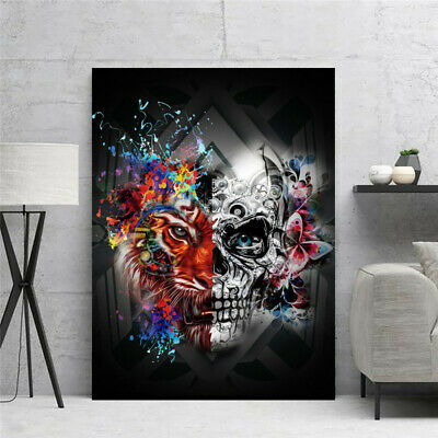 Skull Canvas Painting Abstract Painting Black And White Poster Wall Art Picture