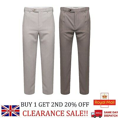 Men's Ex M&S Formal Trousers Stone & Natural Suit Regular Fit Work Smart Pants
