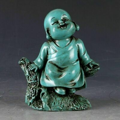 Collectible china Old Decorated Art Turquoise naive monk happy Statue buddha 乐观