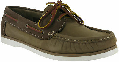 Hi-Tec Boat Shoes Mens Cannes Light Taupe Smooth Leather Lace Up Loafer UK 8 -10