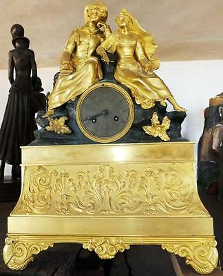 Museum Collector Mantel Pendule Lovers Bronze Fire-Gilded Antique Baroque