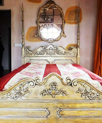 Canopy Bed Gold Exotic Wood Royal King Letto Lit Cama Antique Antique?