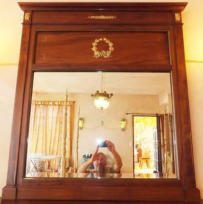 Exotic Wood Gold Relief Wall Mirror FACET Cut Glas Old Antique Empire Louis