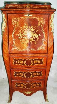 Secretary Desk Chest Cabinet Antique Furniture Marquetry Exotic Wood Bronze