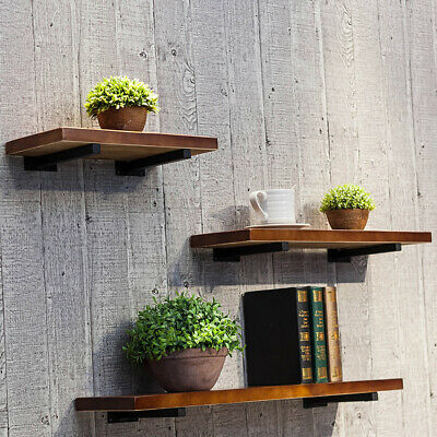 UK Organization Wall Shelf Storage Rack Decorative Wood Board Floating Bookcase