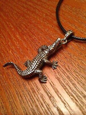 Stainless Steel Alligator Necklace -Pendant Charm Crocodile Fantasy Jewelry