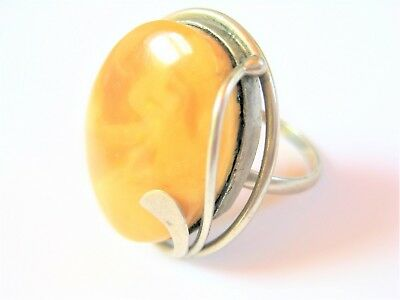 Ring mit Honigbernstein, Butterscotch, 7,87 g