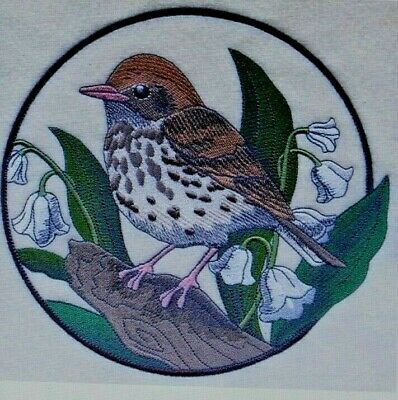 SPRING BIRD WOOD THRUSH LILY OF THE VALLEY CIRCLE Hand Towel Set Embroidered