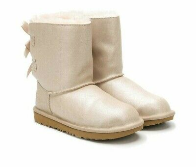 Ugg K Bailey Bow II Shimmer Gold Girls Boots Size 3 UK Eur 33 New £79.99
