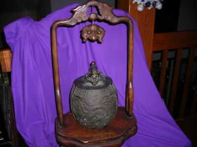 Quality Early Antique Chinese Dragon Bronze Gong Or Bell Stand With Calligraphy