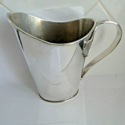 Vintage Large Silver Plate Water / Ice Pitcher Jug Nice  Fancy Handle Gleaming
