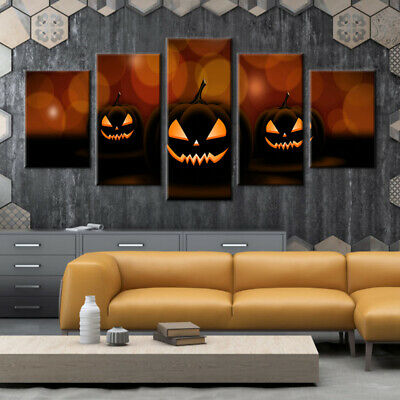 Halloween party art wall decor Pumpkin blame Oil painting Printed on canvas